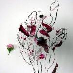 Entstehung rosa Blüte (c) Foto und Zeichnung von Susanne Haun