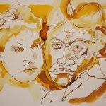 Beethoven und Josephine 30 x 40 cm Tusche uaf Bütten (c) Zeichnung von Susanne Haun