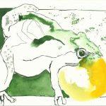 Der Froschkönig am Ball 22 x 17 cm Tusche auf Bütten (c) Zeichnung von Susanne Haun