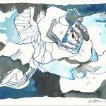 Rose blau Vers. 1 17 x 22 cm Tusche auf Bütten (c) Zeichnung von Susanne Haun