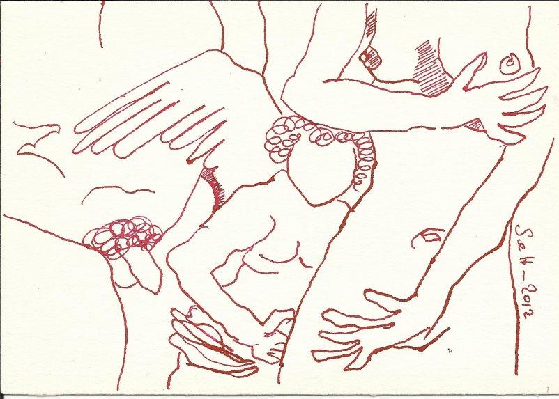 Tarot Version 1 Die Liebenden 18 x 13 cm (c) Zeichnung von Susanne Haun
