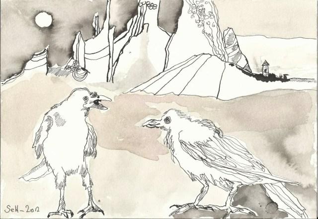 Im Morgengrauen Krähen (c) Zeichnung von Susanne Haun