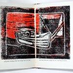 Boot und Meer schwarz rot (c) Künstlerunikatbuch von Susanne Haun