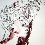 Entstehung Primelfrau mit caput-mortuum 48 x 36 cm (c) Zeichnung von Susanne Haun (2)