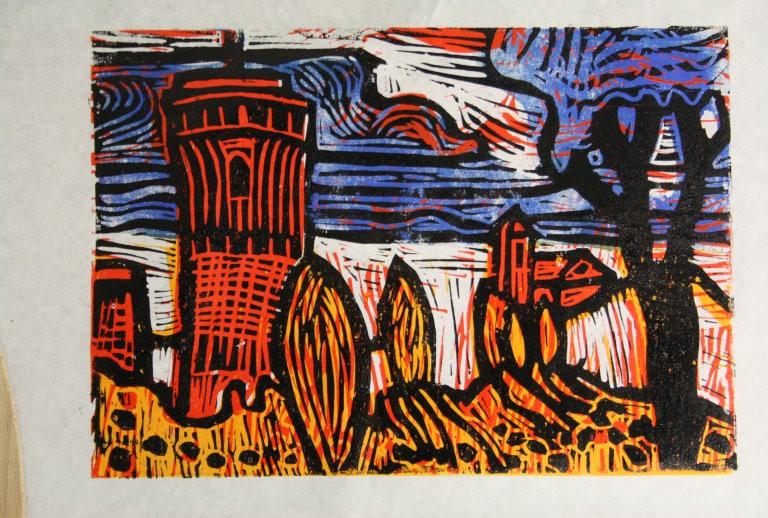 Ein Schloss im Märchen blau (c) Linolschnitt von Susanne Haun
