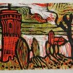 Ein Schloss im Märchen olivgrün (c) Linolschnitt von Susanne Haun