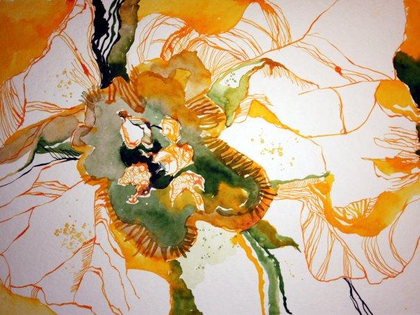 Das Innere der Primel 48 x 36 cm Tusche auf Bütten (c) Zeichnung von Susanne Haun