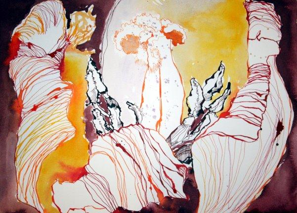 Rote Tulpe Vers. 1 Tusche auf Bütten 26 x 36 cm (c) Zeichnung von Susanne Haun