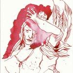 Engel aufnehmend das rot der Wand (c) Zeichnung von Susanne Haun
