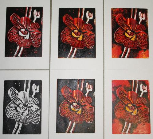 Übersicht der Drucke Blume (c) Holzschnitt von Susanne Haun
