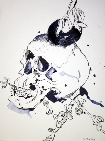 Vanitas, Totenkopf mit Mandarine und Zweig, 40 x 30 cm Tusche auf Bütten (c) Zeichnung von Susanne Haun