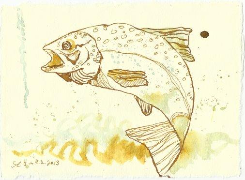 Blatt 83 Weine fliessen Fische zucken (c) Zeichnung von Susanne Haun