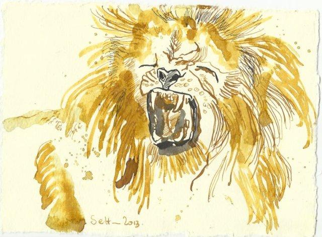 Blatt 94 Tierbändiger führen Löwen (c) Zeichnung von Susanne Haun