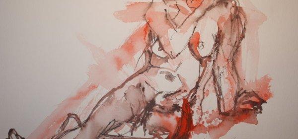 Akt sitzend an der Wand gelehnt - 30 x 40 cm (c) Aquarell von Susanne Haun