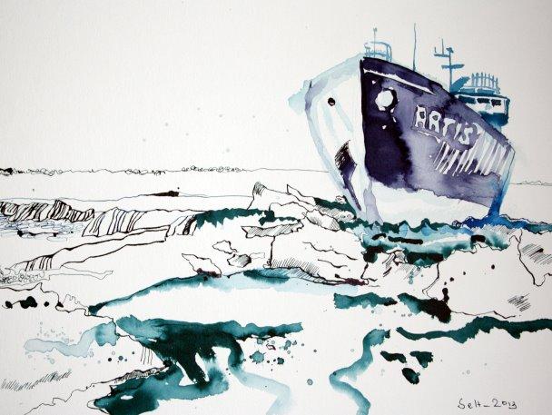 Blatt 1 Eisbrecher (c) Zeichnung von Susanne Haun
