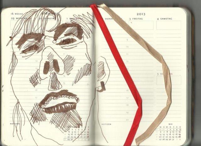 18. Woche Selbstportrait (c) Zeichnung von Susanne Haun