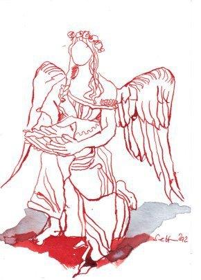 Taufengel Wolgast Version 1 (c) Zeichnung von Susanne Haun