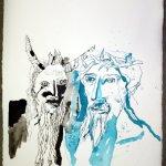 Der Sohn Gottes und der Fürst der Finsternis - Entstehung Zeichnung von Susanne Haun