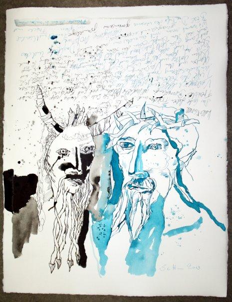 Der Sohn Gottes und der Fürst der Finsternis - 50 x 40 cm - Zeichnung von Susanne Haun
