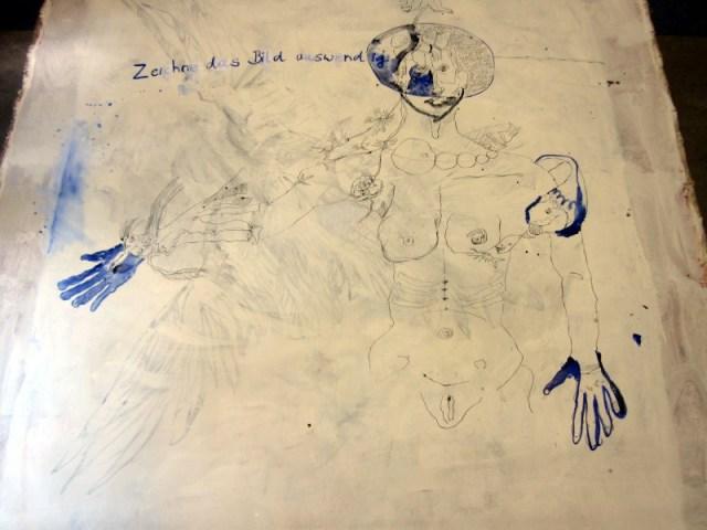 Zeichne das Bild auswendig - Entstehung Leinwand von (c) Susanne Haun