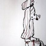 Detail Antonius - Ich stürze in den Abgrund - 65 x 50 cm (c) Zeichnung von Susanne Haun