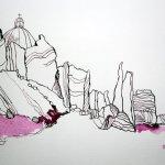 Ausschnitt - Die Götzen kommen - 65 x 50 cm (c) Zeichnung von Susanne Haun