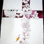 Entstehung des Flammenden Kreuzes - 65 x 50 cm (c) Zeichnung von Susanne Haun