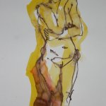 Gelber stehender Akt - 40 x 30 cm - Version 2 (c) Zeichnung von Susanne Haun