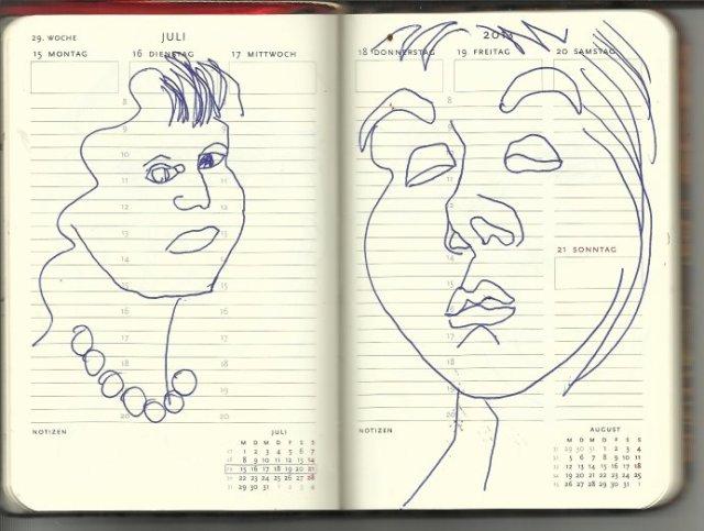 Selbstportrait Tagebuch 29. Woche (c) Zeichnung von Susanne Haun
