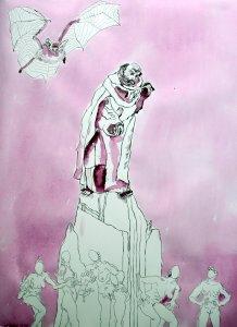 Version 2 – Ich stürze in den Abgrund – 65 x 50 cm (c) Zeichnung von Susanne Haun