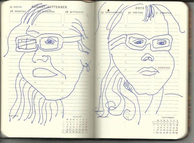 Selbstportrait Tagebuch 35. Woche (c) Zeichnung von Susanne Haun
