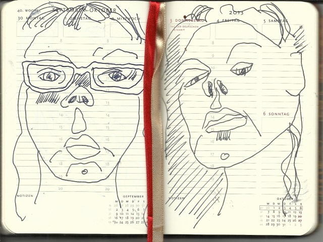 Selbstportrait Tagebuch 40. Woche (c) Zeichnung von Susanne Haun
