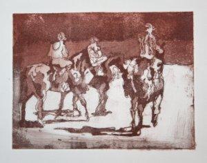 Drei Pferde (c) Radierung von Maike Josupeit