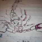 Zwischenstand des Skorpiopns (c) Zeichnung auf Leinwand von Susanne Haun (13)