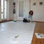 Mein Präsentations- bzw. Galerieraum ist groß genug für die Leinwand für Grimma 450 x 200 cm (c) Foto von Susanne Haun