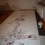 Tagesende (c) Zeichnung auf Leinwand von Susanne Haun