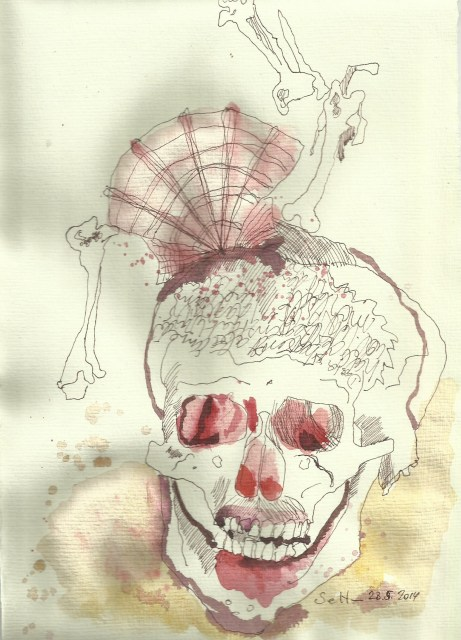 Ein ironischer Blick auf mein Ich  Version 3 (c) Zeichnung von Susanne Haun