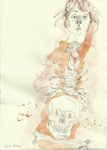 Ein ironischer Blick auf mein Ich  Version 4 (c) Zeichnung von Susanne Haun