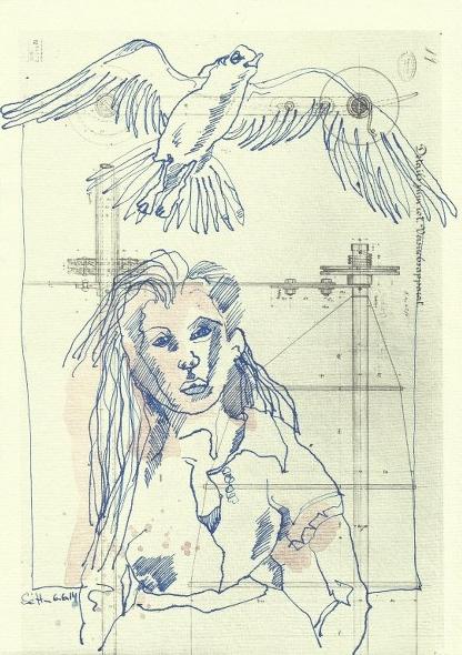 Vögel, Frauen und Maschinen - 30 x 20 cm - Tusche auf Bütten (c) Zeichnung von Susanne Haun