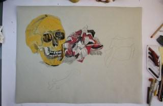 Entstehung Vanitas Stillleben auf Hahnemühle Ingres (c) Zeichnung von Susanne Haun