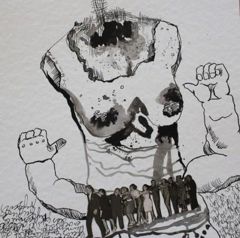 Blatt 40 - Aufgereiht ins Nirgendwo - 25 x 25 cm (c) Collage von Susanne Haun