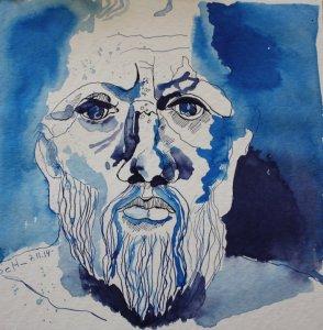 Meine Vorstellung von Platon (c) Zeichnung von Susanne Haun