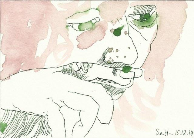 Ich - 12 x 17 cm - Tusche auf Burgund Bütten - Vers. 3 (c) Zeichnung von Susanne Haun