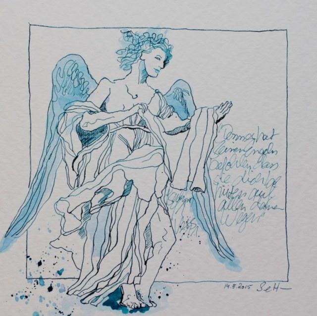 Gott hat seinen Engel befohlen (c) Zeichnung von Susanne Haun