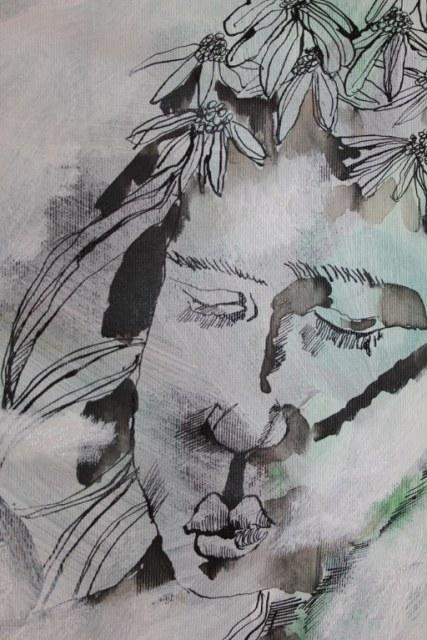 Natur - Blumenmädchen (c) Zeichnung auf Leinwand von Susanne Haun