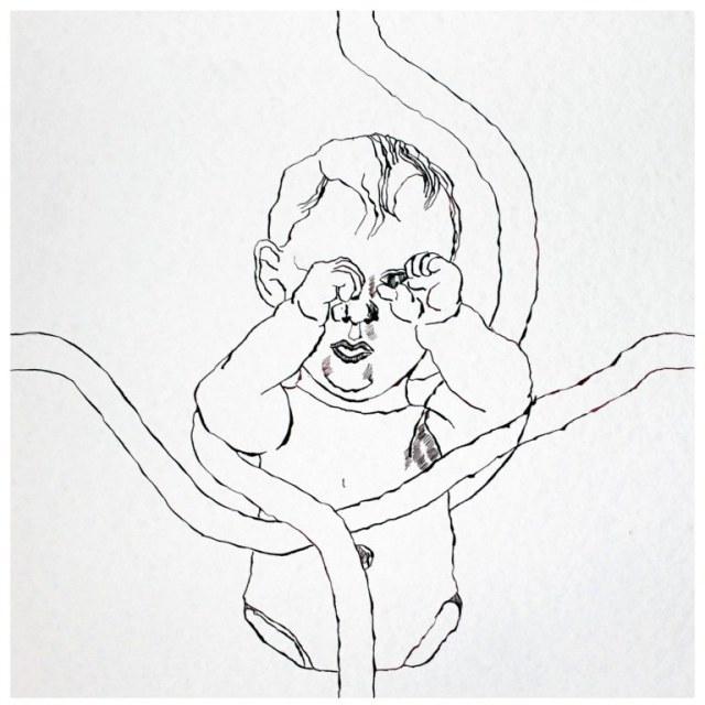 Sozialer Kontakt 1.0, 40 x 40 cm, Tusche auf Bütten (c) Zeichnung von Susanne Haun