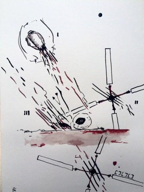 Weggegossen No. 10 (c) Zeichnung von Jürgen Küster