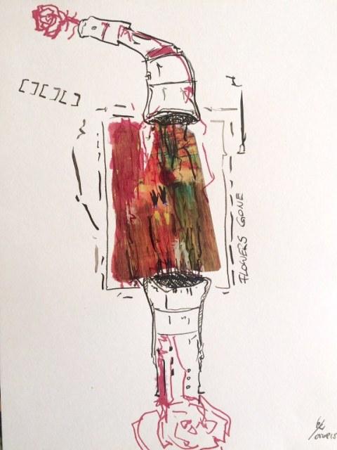 Weggegossen No. 5 b (c) Zeichnung von Jürgen Küster