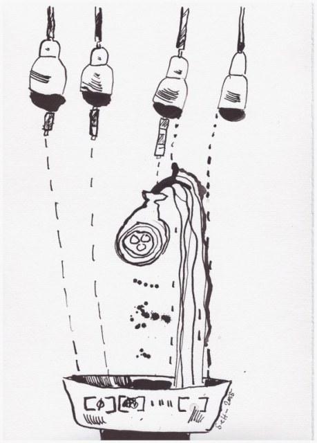 Weggegossen No. 9 a (c) Zeichnung von Susanne Haun
