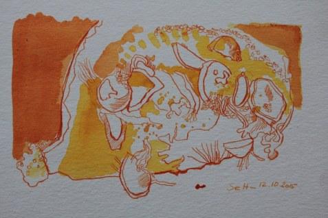 Kürbis - 11 x 18 cm - Tusche auf Hahnemühle Burgund (c) Zeichnung von Susanne Haun